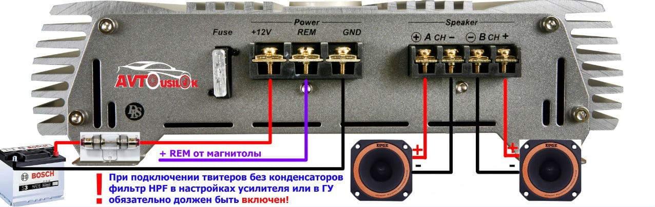 2 ch amp connect 2 tweeters